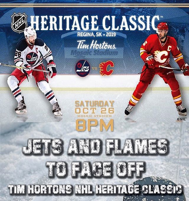 Catch the Heritage Classic! Jets and Flames to face off in 2019 Tim Hortons NHL Heritage Classic Saturday, October 26 @ 8PM. #heritageclassic #NHL