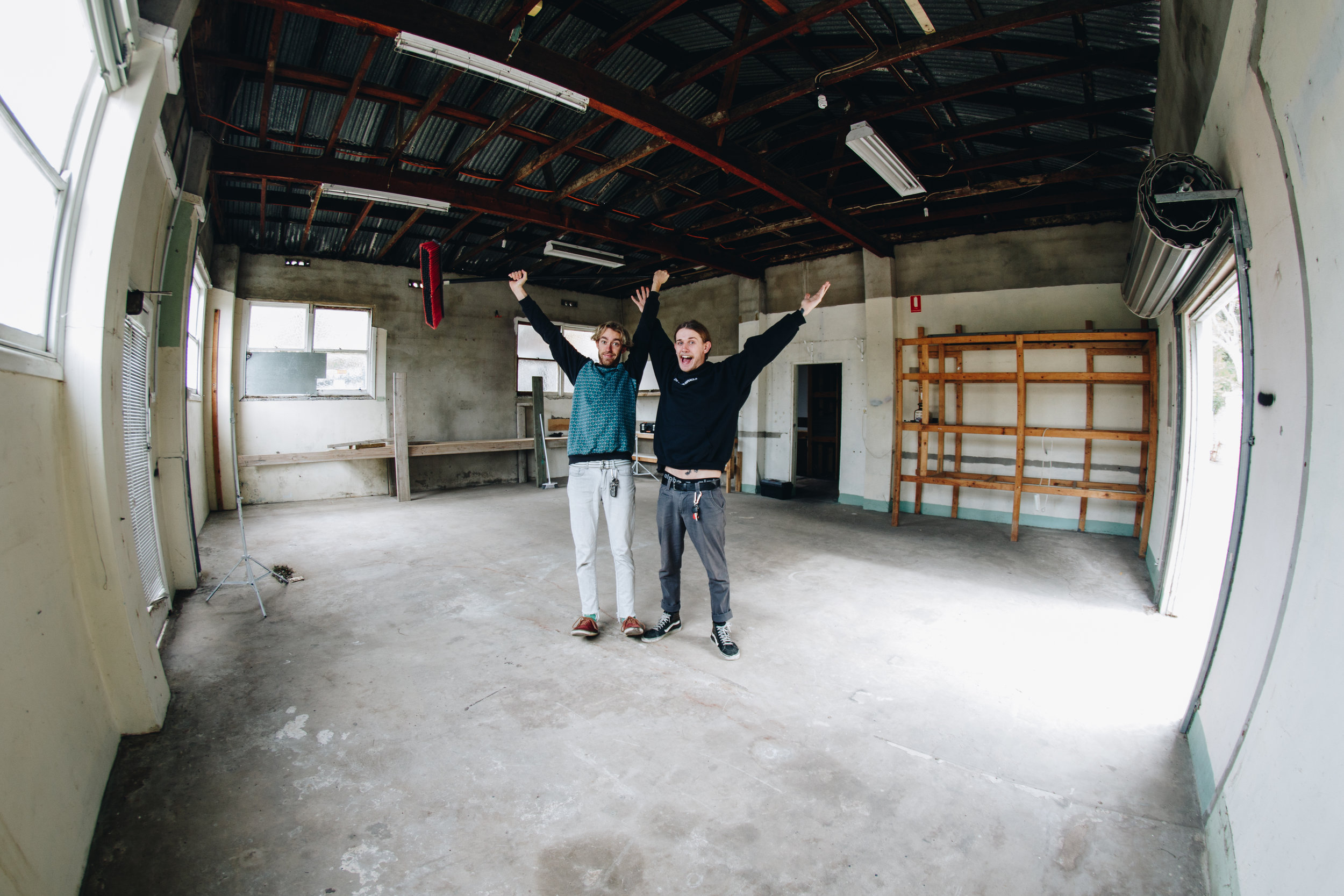 Tom & Liam first day in the new space. Pic: self timer