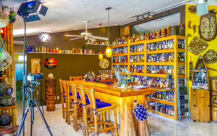 The home bar where Rob shoots his Rum Minute videos ( which you can watch here on YouTube ). Likely home to a handful of the ~300 American rums he's collected over the past 15 years.