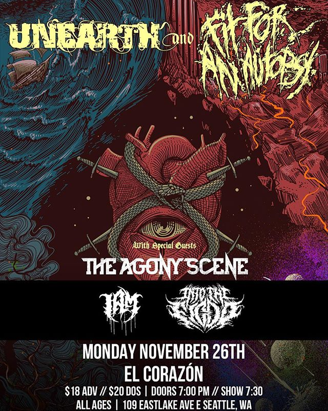 Playing with some of our heroes in @unearthofficial @fitforanautopsy & @theagonysceneband Nov 26 @elcorazonseattle 🤘 DM us for tickets!
