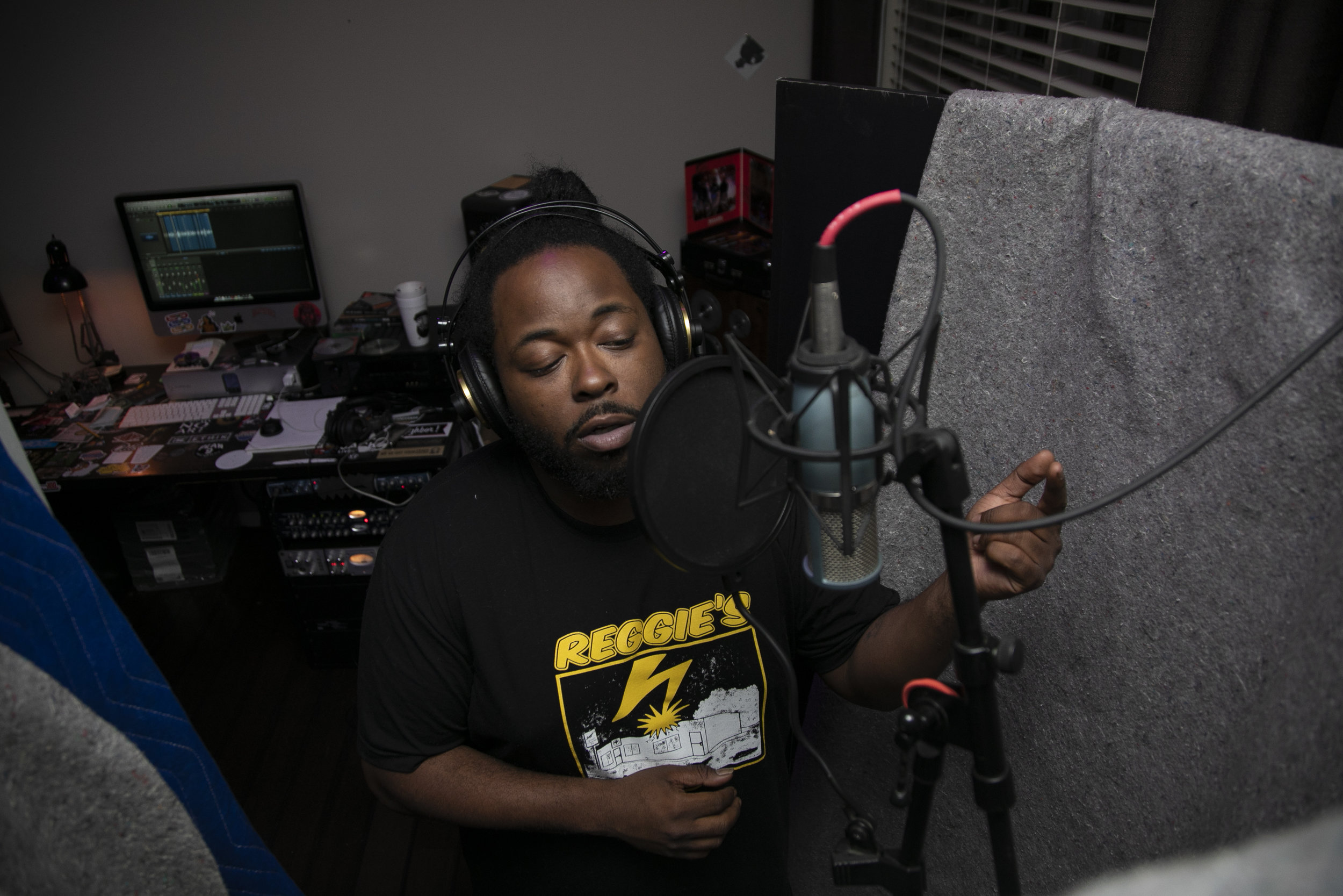 """Mike recording a record in his home studio on April 24, 2019 in Richmond, Virginia.  """"I only record when I know what I have to say is going to mean something,"""" Mike said."""