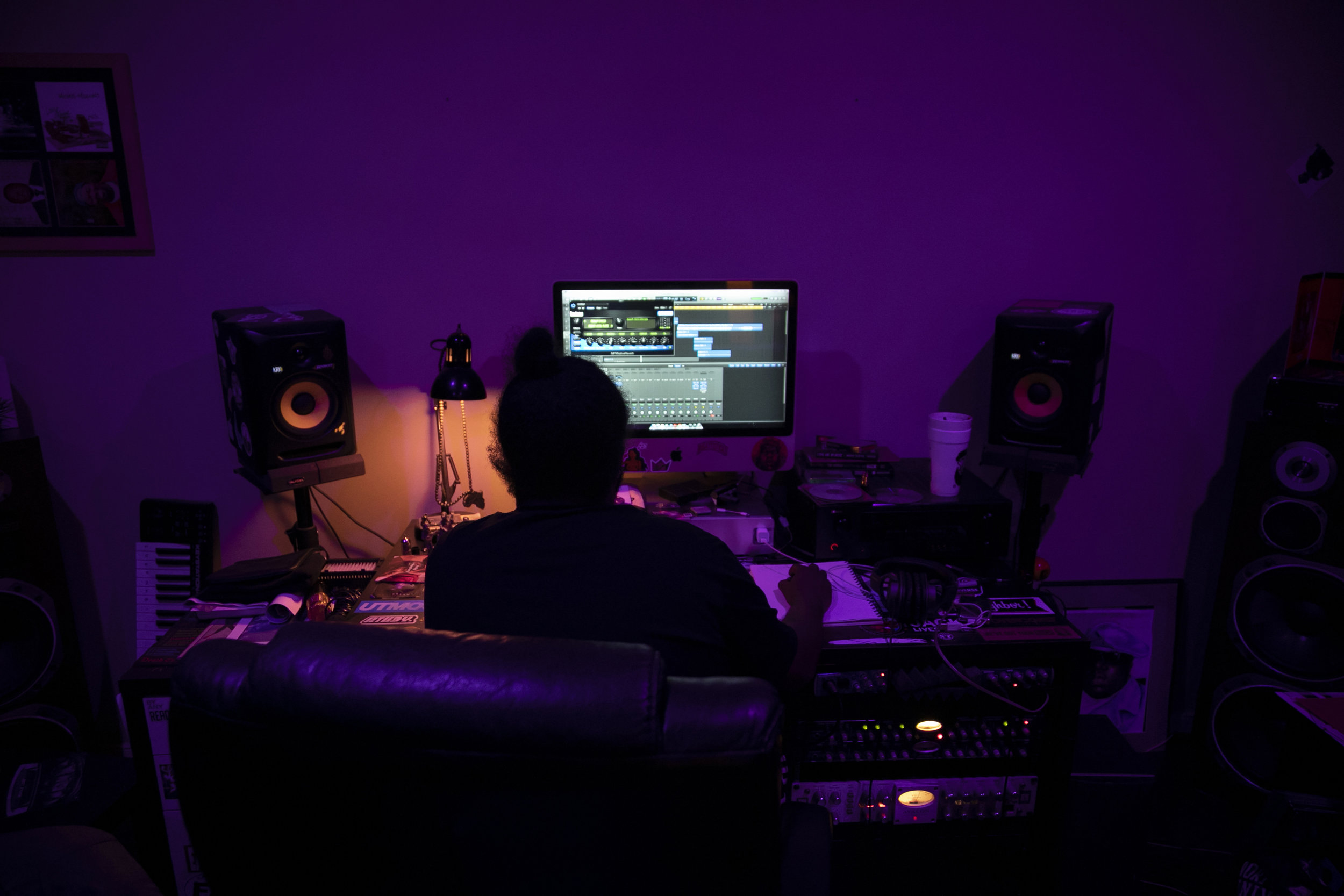 """Mike works a record he's been working on for a few months on April 24, 2019 in Richmond Virginia. He hasn't been totally focused on his own music for the past couple months. """"I have a lot engineering stuff I have to knock out the way before i can fully get back into it,"""" Mike said"""
