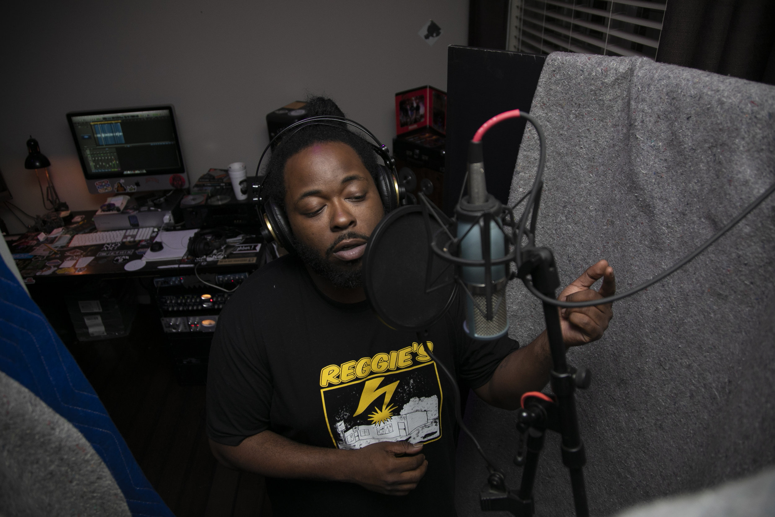 "Mike lays vocals on a record in his home studio on April 24, 2019 in Richmond, Virginia.        ""I only record when I know what I have to say is going to mean something,"" the artist said."