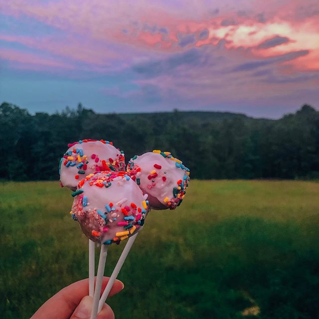 We made cake pops! PS I guess the sunsets here are pretty good 😉