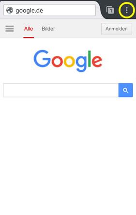 """Klicken Sie in Ihrem Browser auf das im Bild markierte Symbol. Im Menü, welches sich danach öffnet, haben Sie die Möglichkeit die Option """"Zum Startbildschirm hinzufügen"""" auszuwählen. Von nun an, können Sie bequem über ein Icon auf Ihrem Smartphone den Art on Ice showguide öffnen."""
