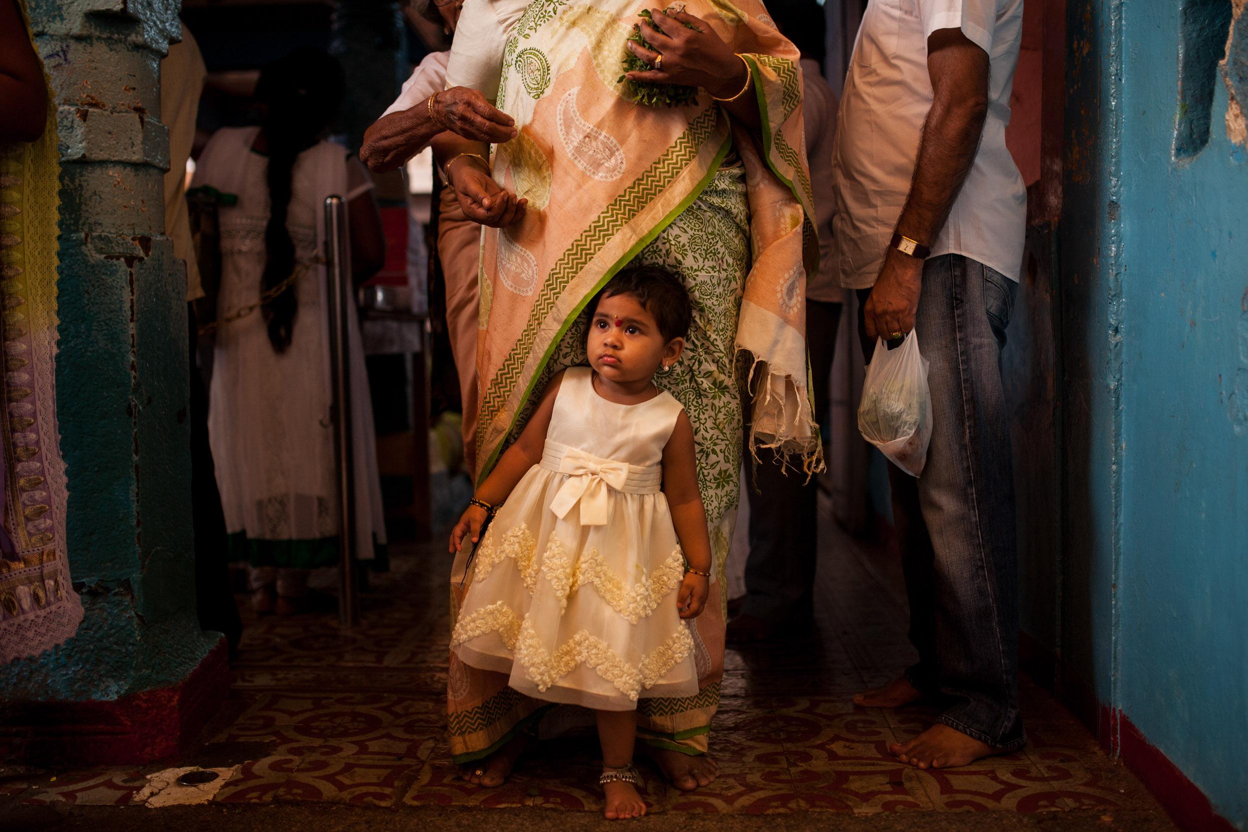 Families bring children to Chilkur Balaji Temple.