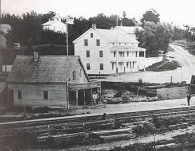 The railroad tracks are near the bottom of this photo from 1870.