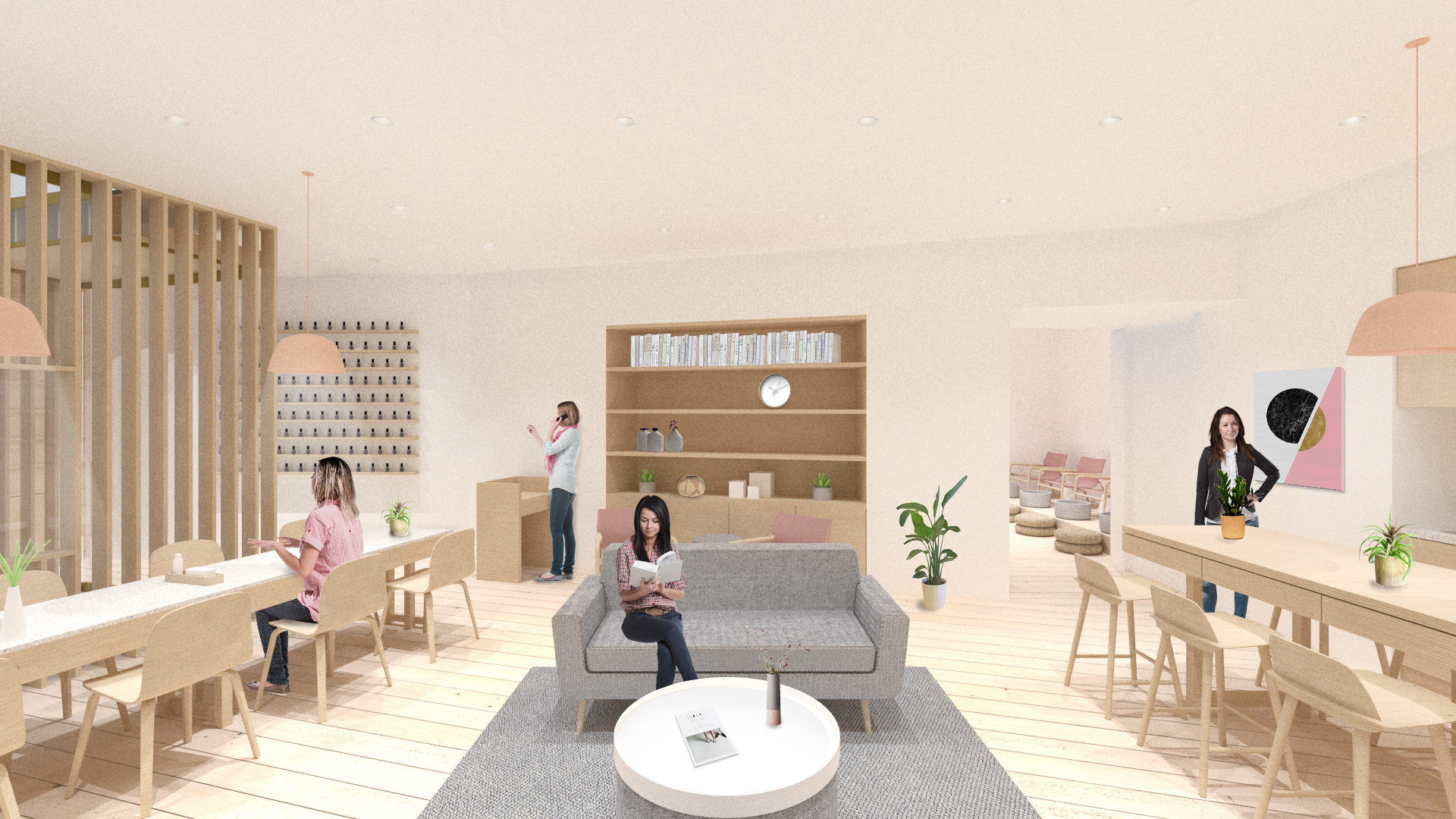 View of the Living Room, combining manicure, lounging, and food-related wellness activities.