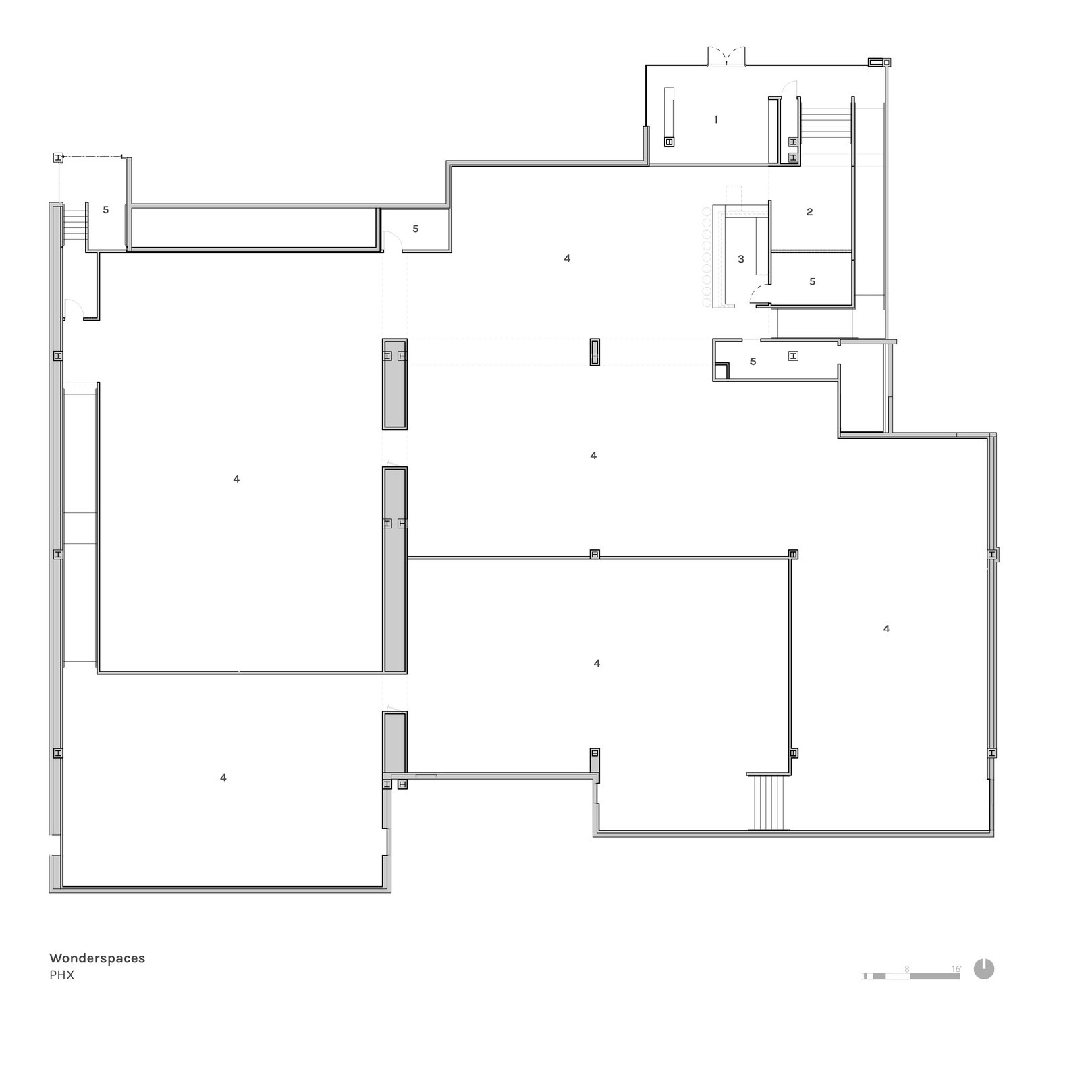 Floor Plan  1: Lobby, 2: Intro Gallery, 3: Bar, 4: Gallery, 5: Back of House