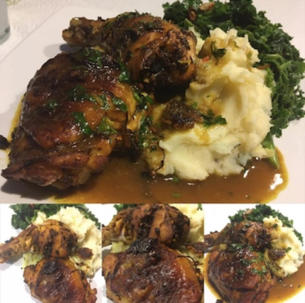 A delicious roast chicken recipe from a dear friend of @TeamCrazyCo Mr John. Moola (Instagram: @mrjmoola). A Crazy Gin marinade for a roast chicken, with a splash of Crazy Gin added to the juices along with butter fir a sensational jus, served with slow roasted smoked garlic mash and chilli and garlic kale.