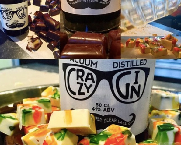 Chef Tony Singh's Crazy Gin, Ginger & Bitter Chocolates and White Chocolate, Fruit and Crazy Gin chocolates (Instagram: @mctsingh)