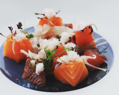 Chef Joseph Fallowfield's Crazy Gin cured Salmon paired with shaved fennel, torched grapefruit and pink grapefruit granita. (Instagram:@josephfallowfield)