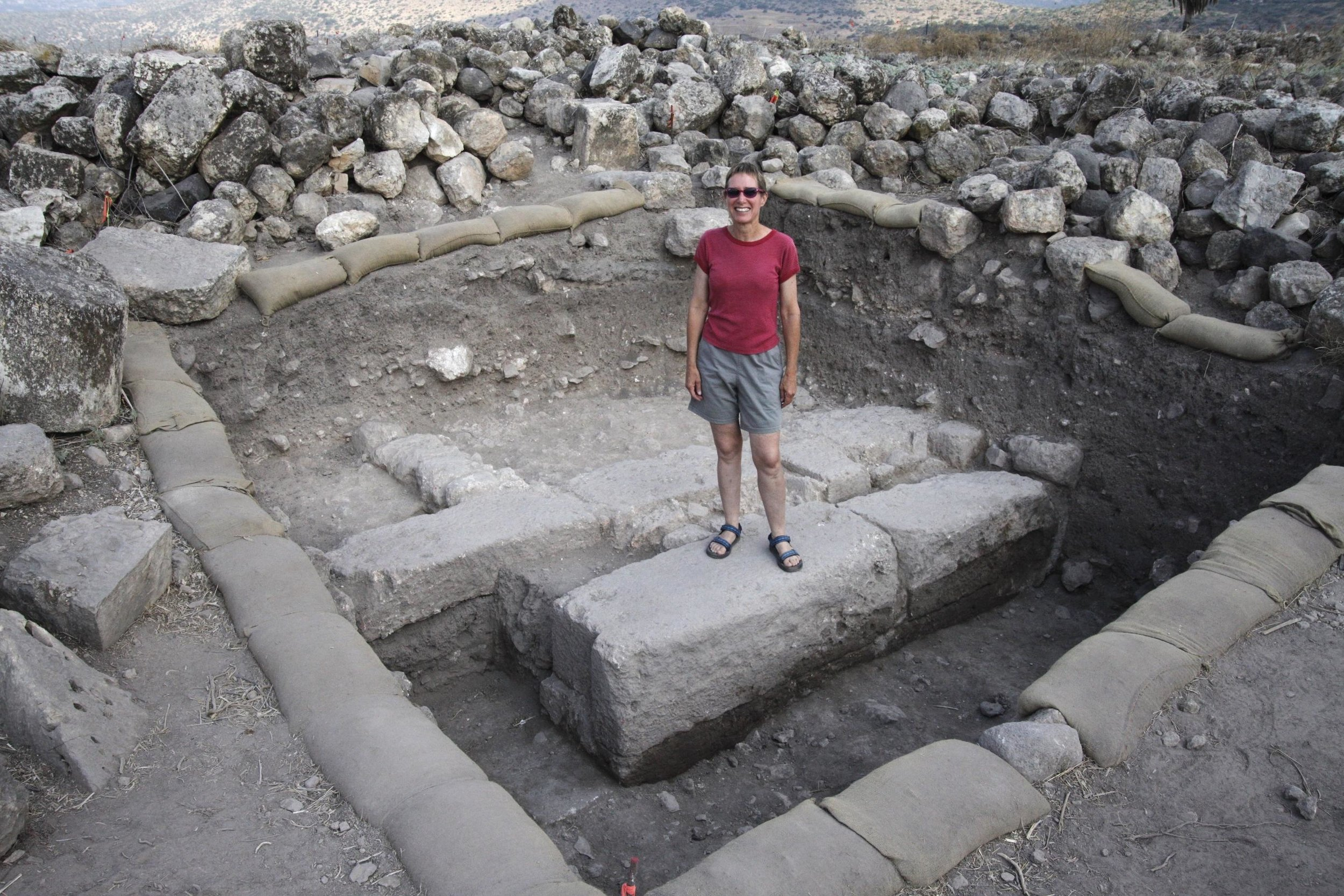 Dr. Jodi Magess directing excavations in the ancient village of Huqoq in Israel's Galilee