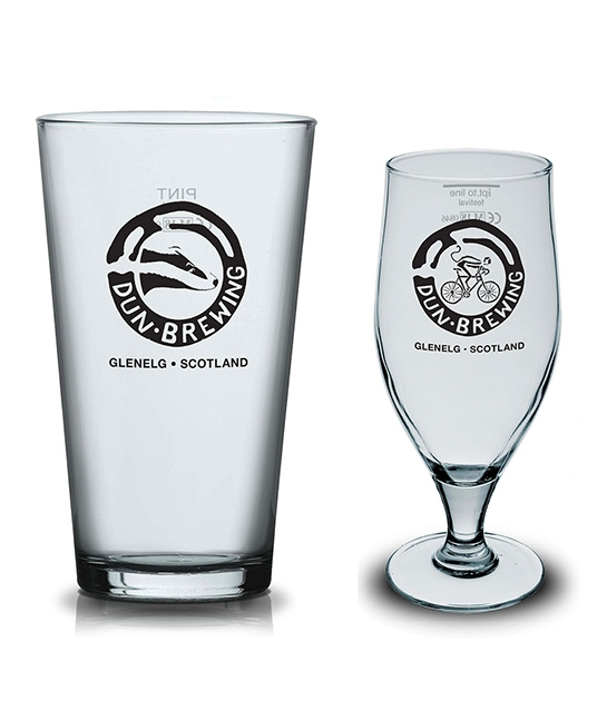 One pint conical glasses with the  Badger  logo and half pint stem glasses with the  Monkey on a Bike  logo.
