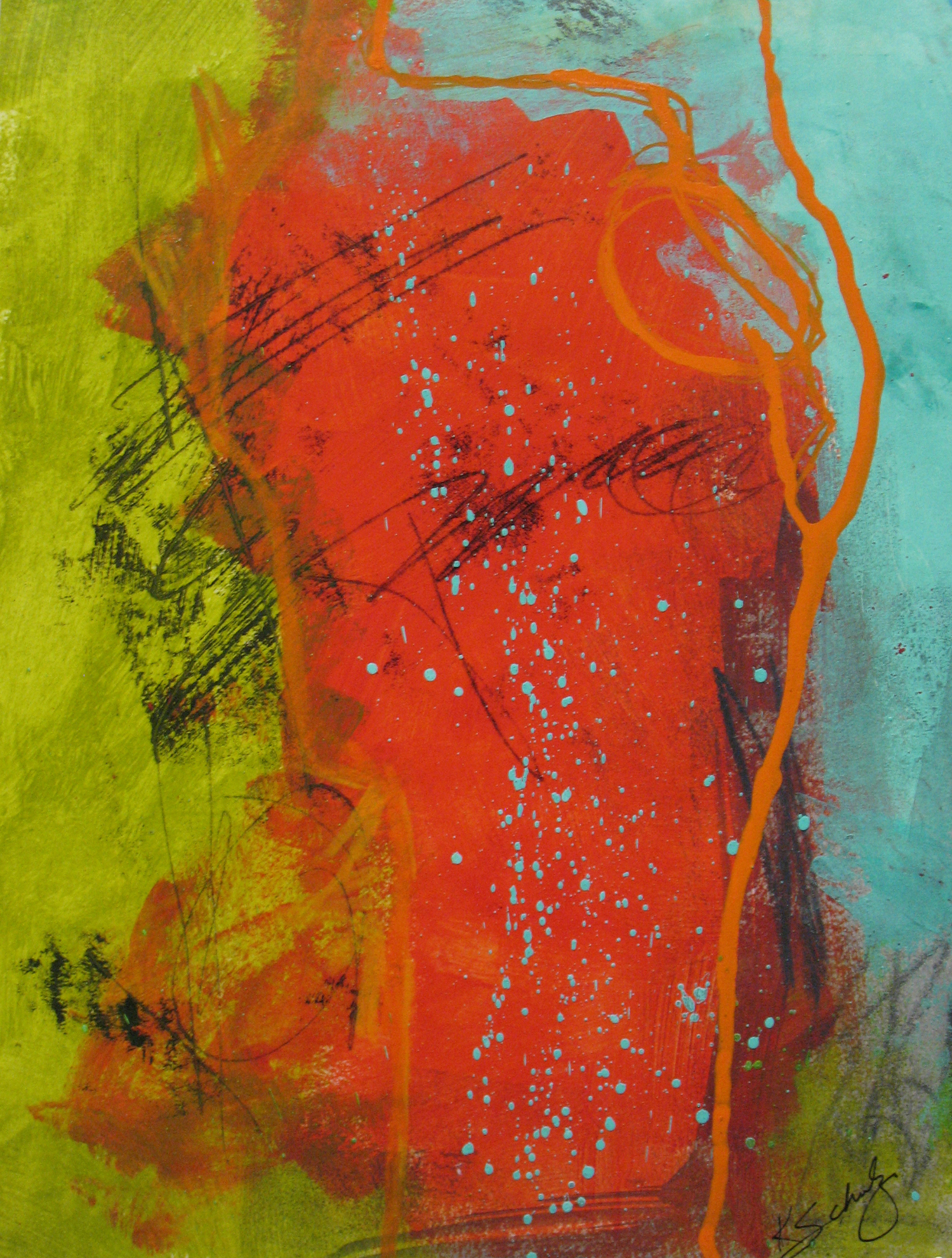 "Figure in Red - acrylic and mixed media on paper, 9"" X 12"", sold"