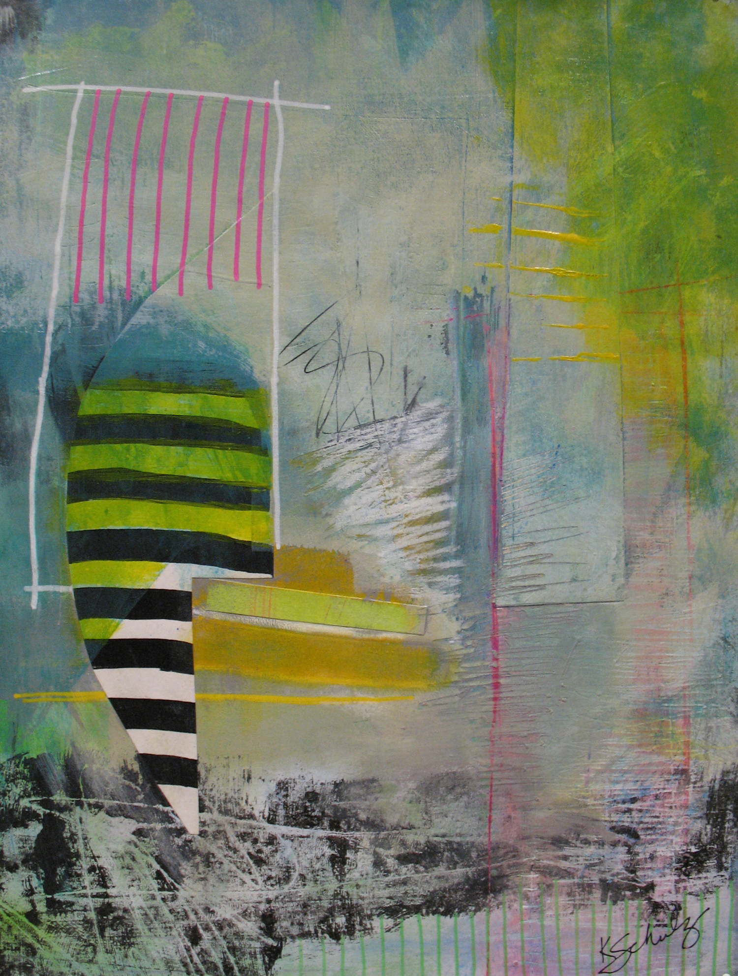 "Figure in Stripes - acrylic and mixed media on paper, 9"" X 12"", sold"