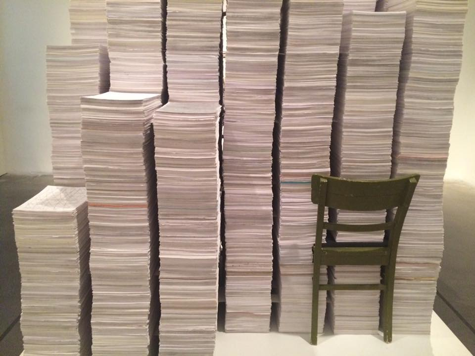 Untitled installation of stacks of more than 300,000 abstract drawings by Vanda Vieira-Schmidt. Exhibition view, The Keeper at the New Museum (NYC), 2016.