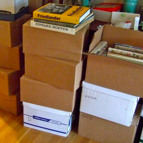 A few of the 18 boxes of books that left the house — without me!