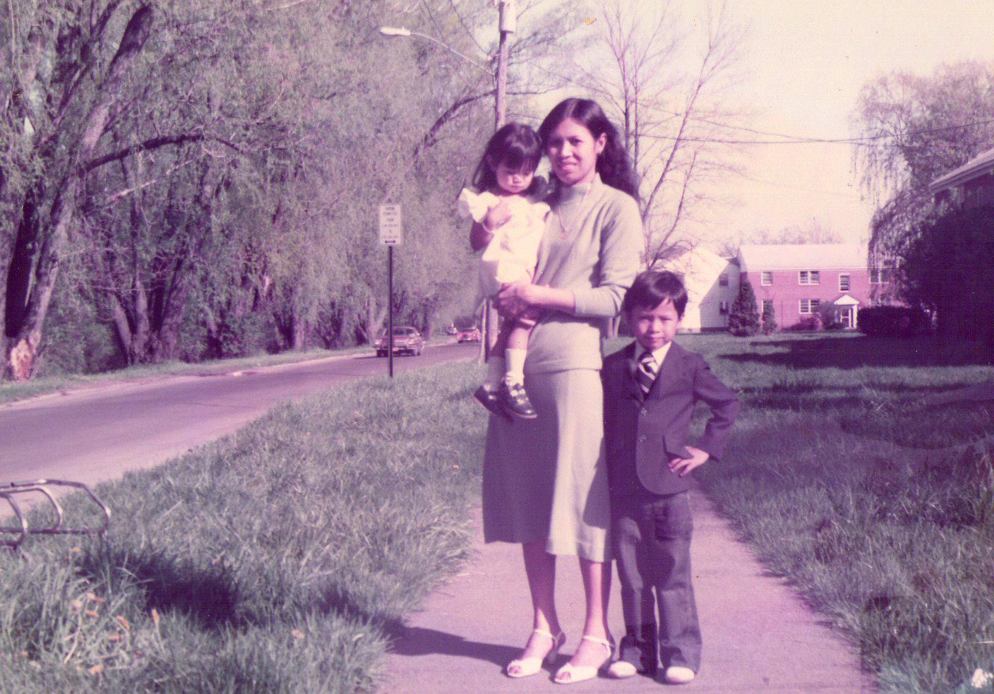Emad Rahim with mother and sister in the early 80s near South Ave