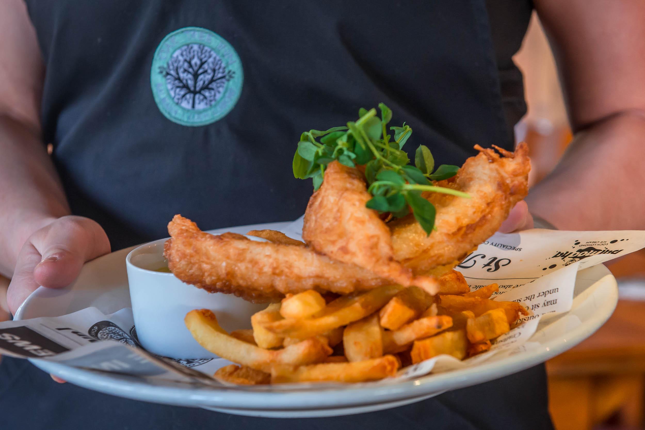 Fish & Chips, Oak Tree Inn, Balmaha, Loch Lomond