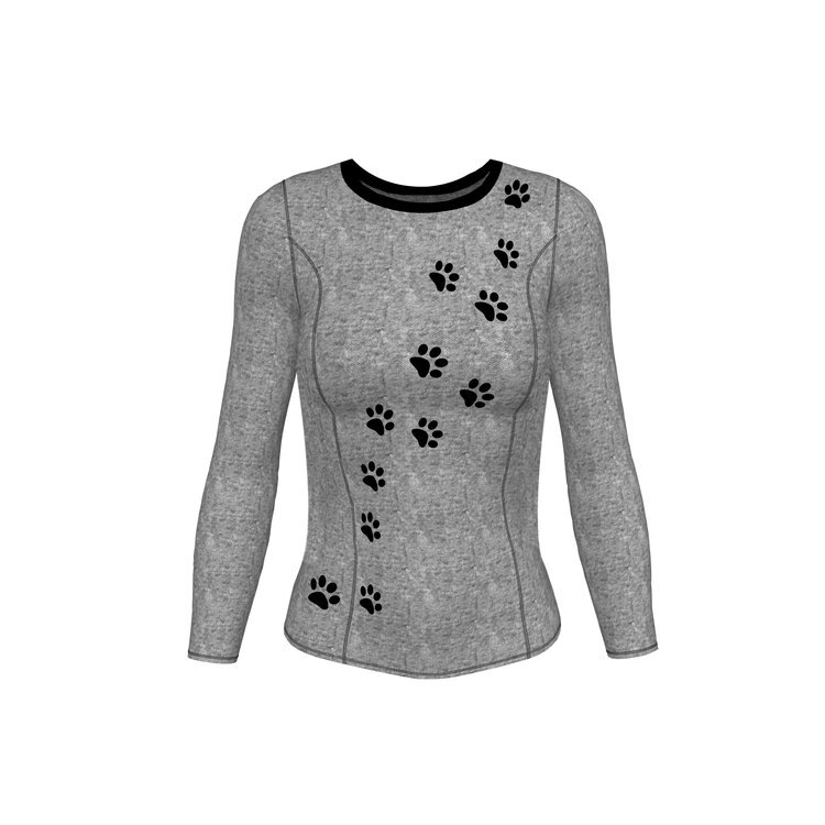 base layer womens top with paw prints in grey.jpg