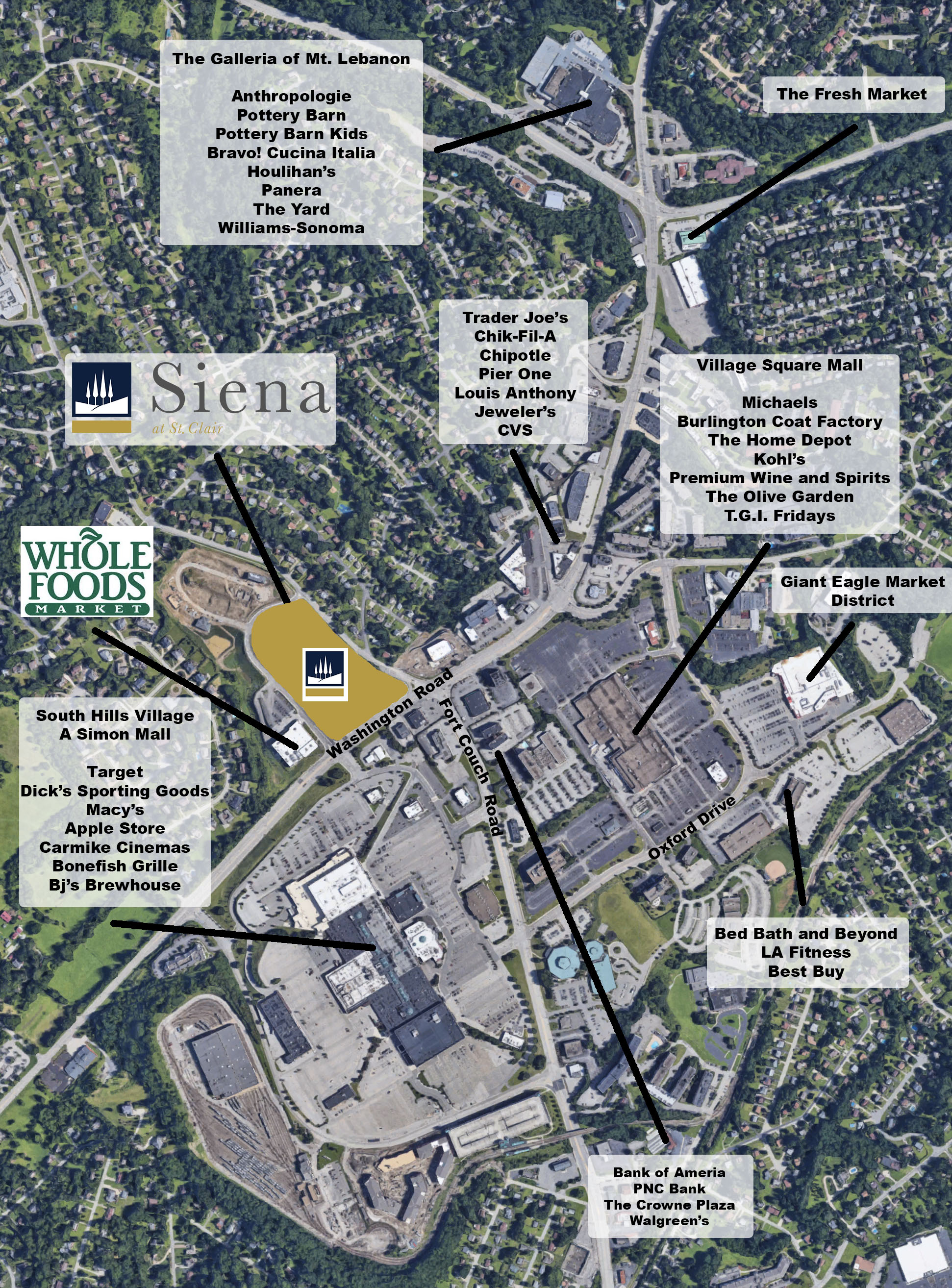 - Now Leasing Siena at St. ClairUpper St. Clair mixed use development with over 120,000 square feet of space in Pittsburgh South HillsAnchored by new Whole Foods MarketTraffic counts of over 40,000 cars per dayMedian household income1 mile: $101,3065 mile: $81,302Contact:Geoff KestlerKGA Partners, LLC412-571-2300 x13gkestler@kgallc.com