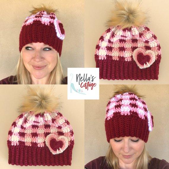 St Valentines plaid hat pattern