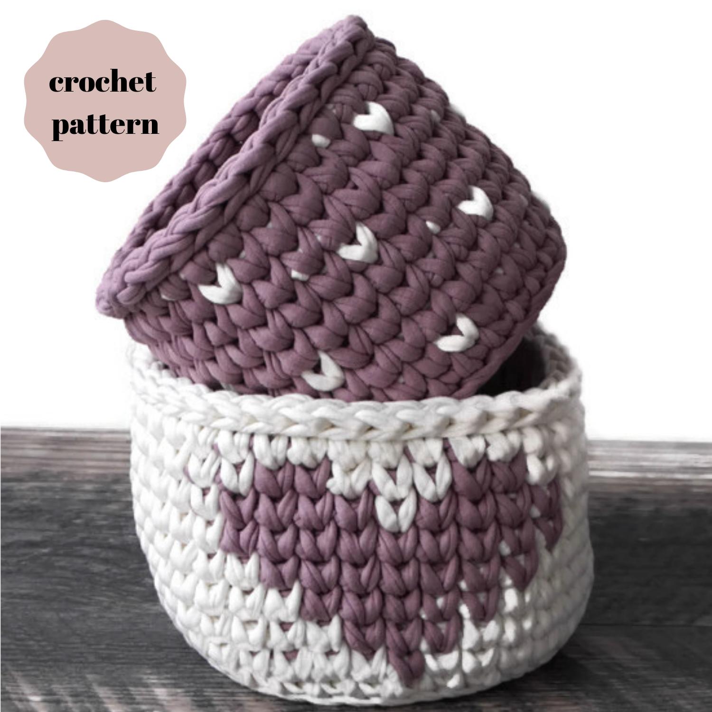Crochet heart basket pattern