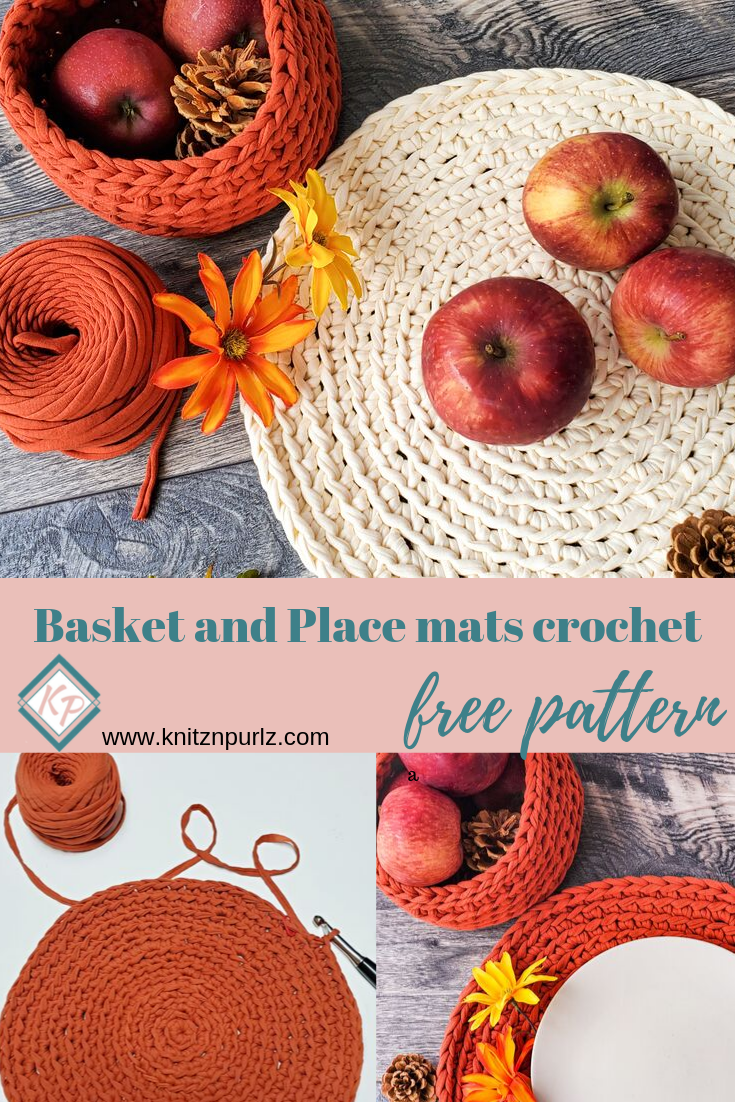 Basket and Place mats crochet free pattern