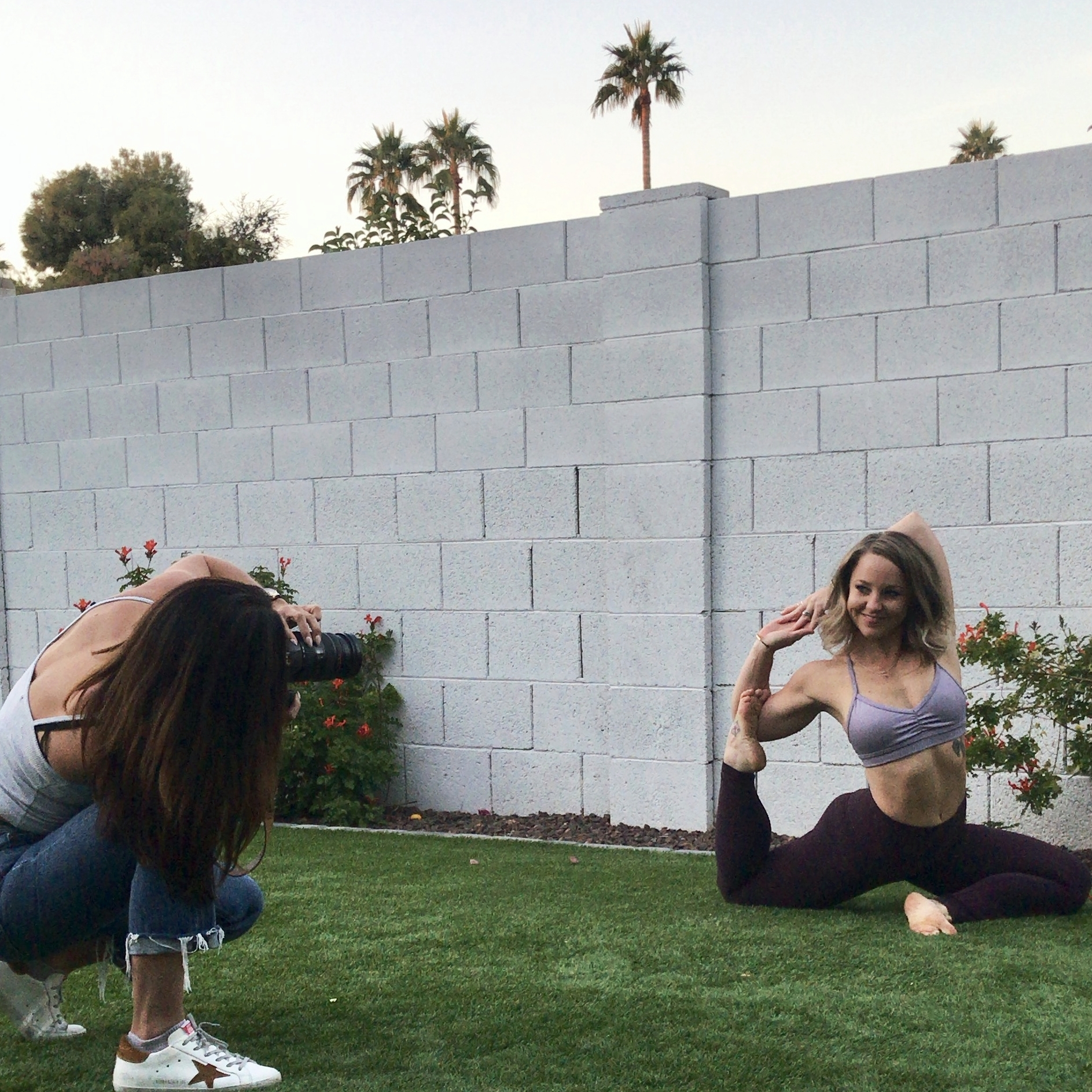 Behind the scenes photoshoot from YogaByCandace Business of Yoga Retreat
