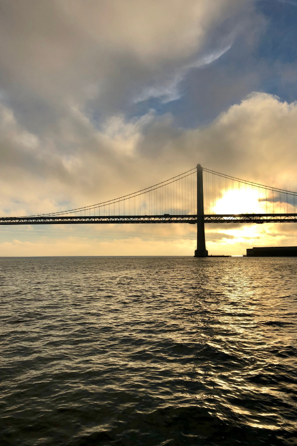 Sunrise behind the Bay Bridge, San Francisco, CA