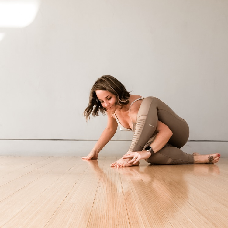 Slowing down and working through tricky transitions after class. Wearing my favorite  Alo Yoga .