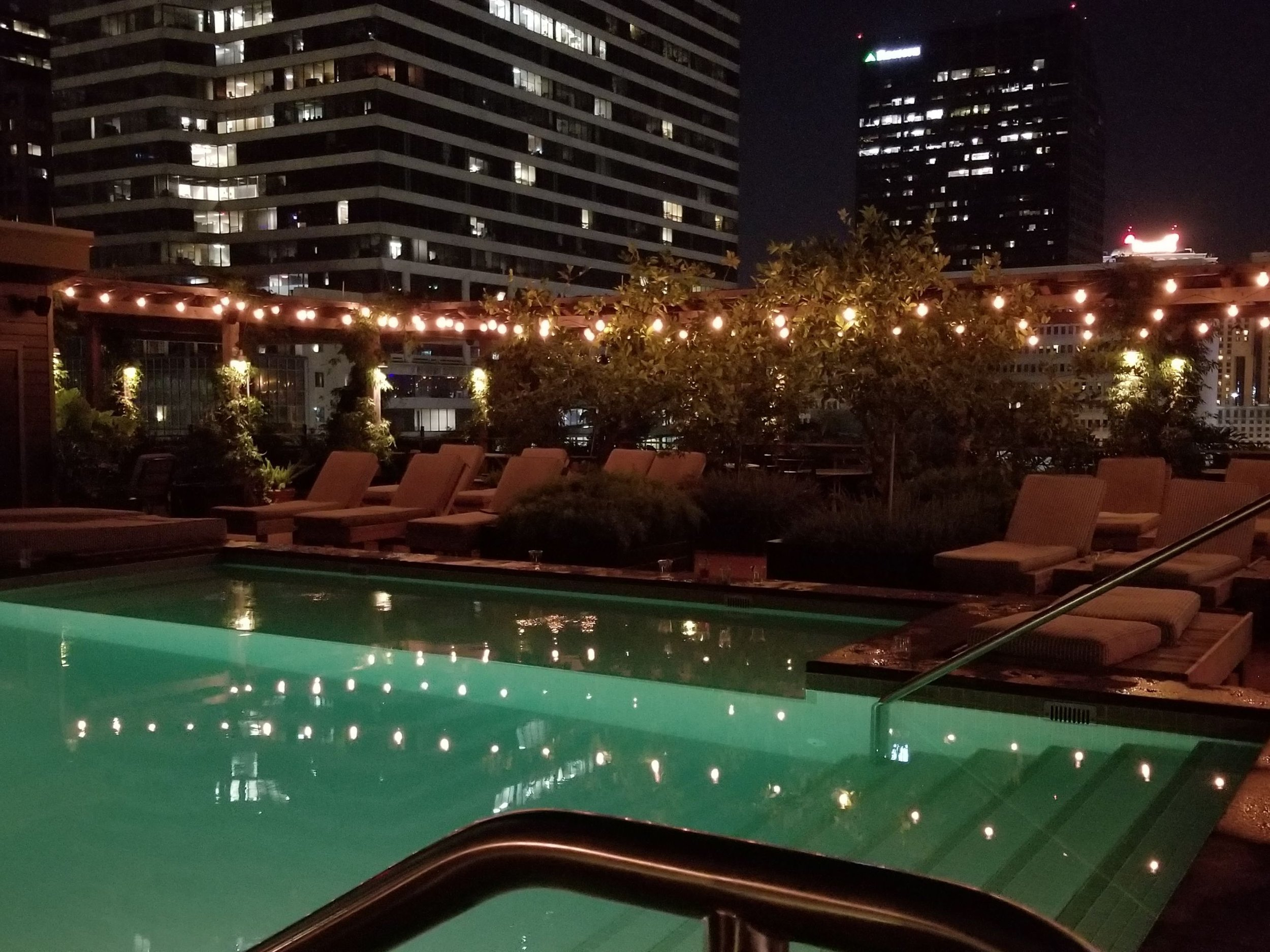 The Ace NOLA rooftop at night with the skyline in the background. #viewz