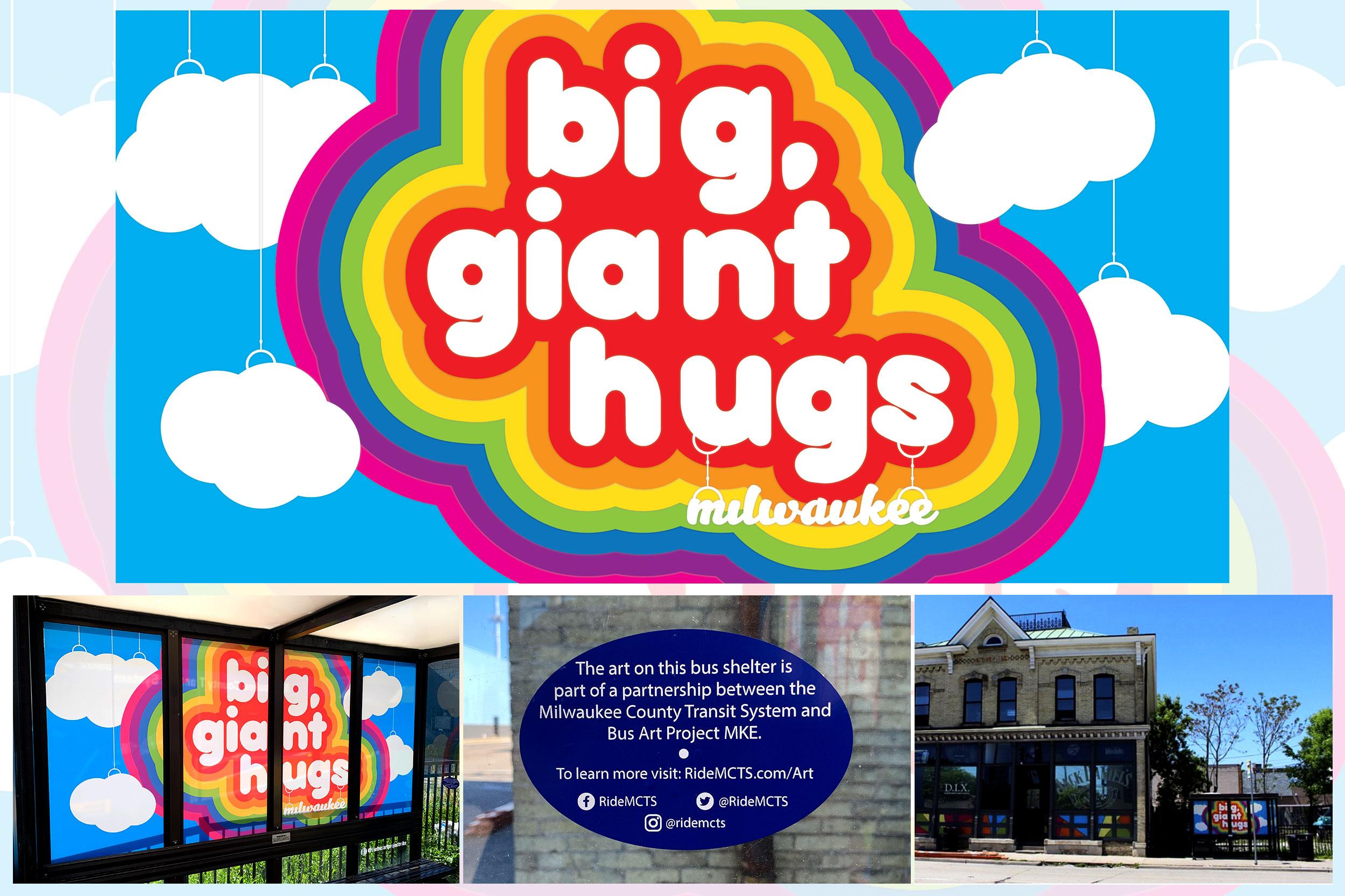 Bus Shelter Art: Big, Giant Hugs (2019)