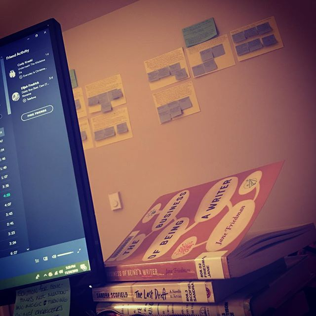 """What my walls look like after a long couple days of revising. 📝  This is the result of me looking at my husband and saying, """"So, I know I said the book was done, but I have this sinking feeling I need to restructure it in revision...."""" By this point, he knows to just say, """"Go for it."""" 😂"""