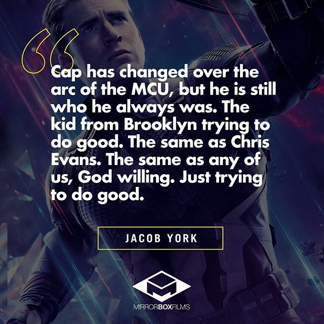 Check out Jacob's entire essay over on the blog where he explores what makes Captain America / Steve Rogers such a memorable character. LINK IN BIO!⠀ .⠀ .⠀ .⠀ .⠀ #avengers #captainamerican #steverogers #endgame #movieessay #superhero #genrefilm #productioncompany #indie #scifi #fantasy #film #geeklife #filmmakers #geeky #writing #writers #indiefilm #geeks #nerd #comics #geekgirl #comiccon #sciencefiction #story #screenwriting #movie #artist #genrefilm #mirrorboxfilms