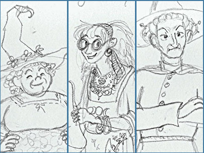 From left, Nanny Ogg, Magrat Garlick, and Granny Weatherwax; pencil sketch by me from 2014.