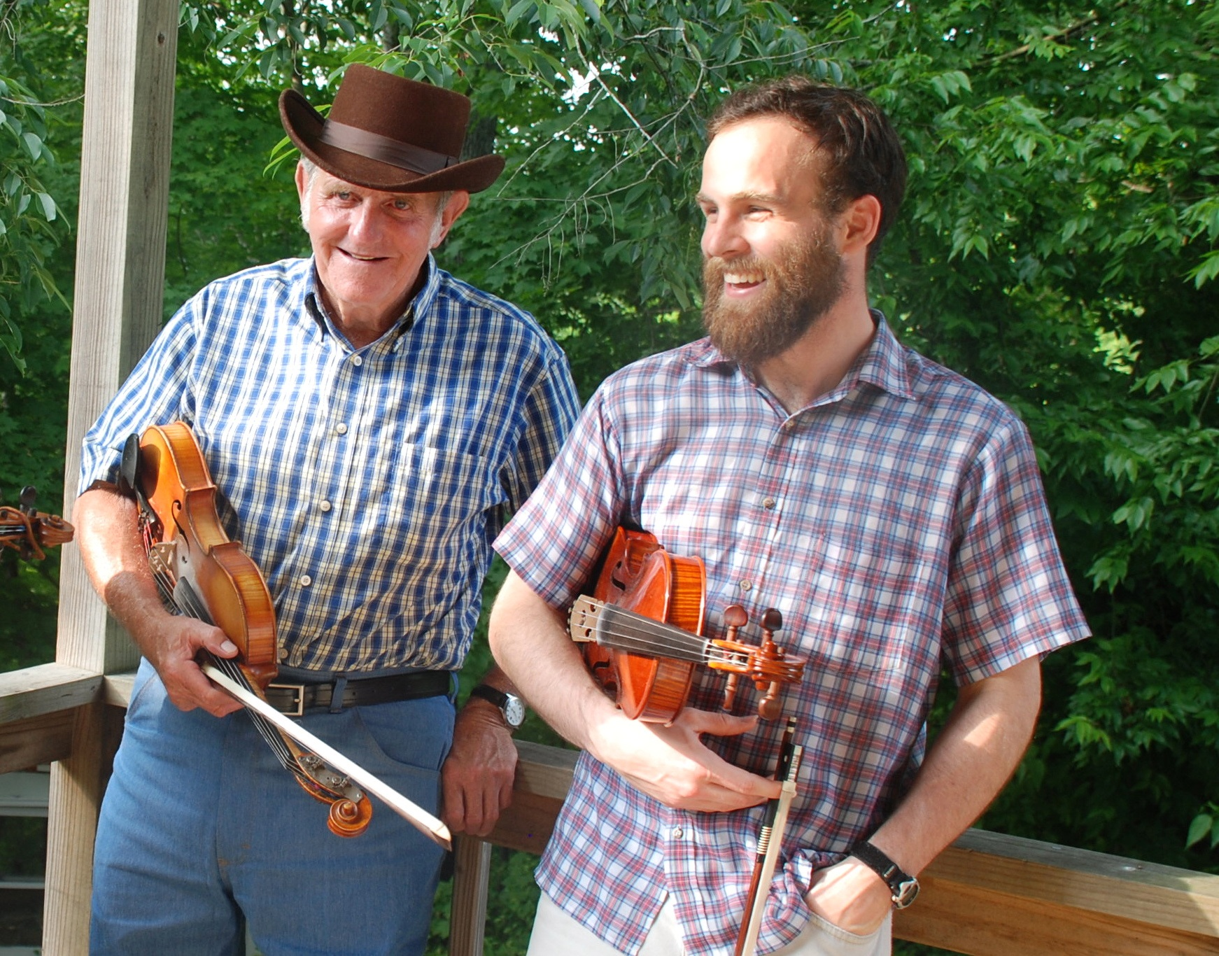 "Charlie McCarroll and Joseph Decosimo in 2008. A mighty fiddler in his own right, Charlie is the son of Roane County Ramblers fiddler Jimmy McCarroll whose ""Hometown Blues"" has entered into all kinds of repertoires as the ""Lee Highway Blues."" Photo courtesy of Bob Fulcher."