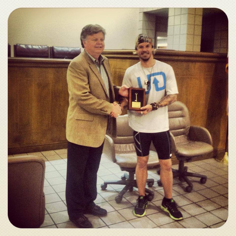 """avoid procrastination, do it now!"" - Receiving the ""Key To The City"" of Helena, Alabama from Mayor Mark Hall in 2013."