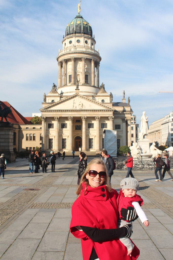 Wearing my red cape from London in Berlin!