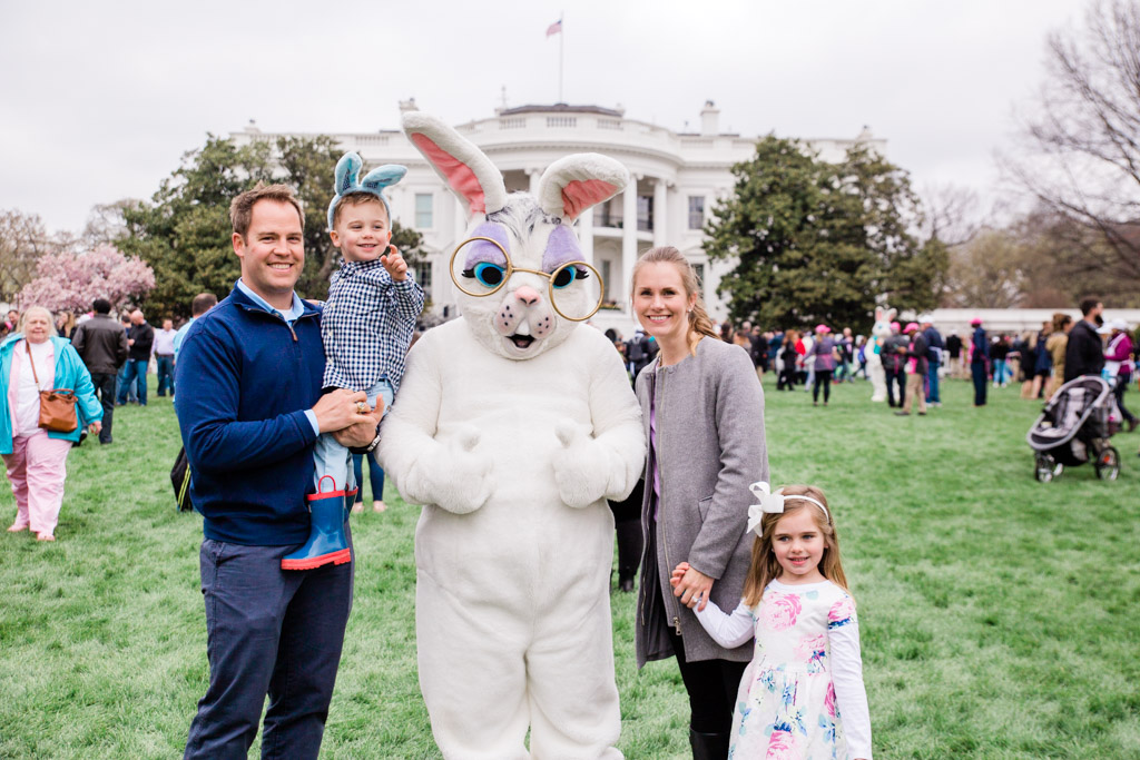 Our family with the Easter Bunny on the White House lawn at the Easter Egg Roll.