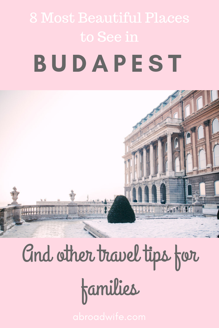 "Buda Castle in winter with text overlay ""8 Most Beautiful Places to See in Budapest"""
