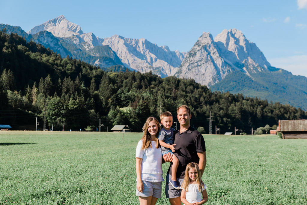 Our family at the base of the German Alps in Garmisch-Partenkirchen.