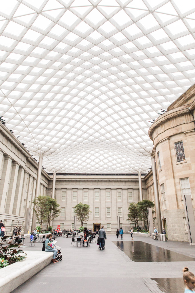 The undulating roof of the Kogod Courtyard in the National Portrait Gallery.