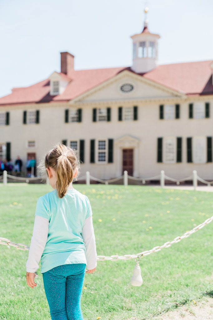 Little girl looking at the main house at Mount Vernon, George Washington's home.