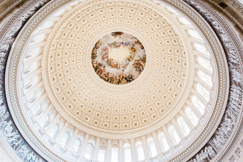 Looking up at the magnificently painted Capitol dome.