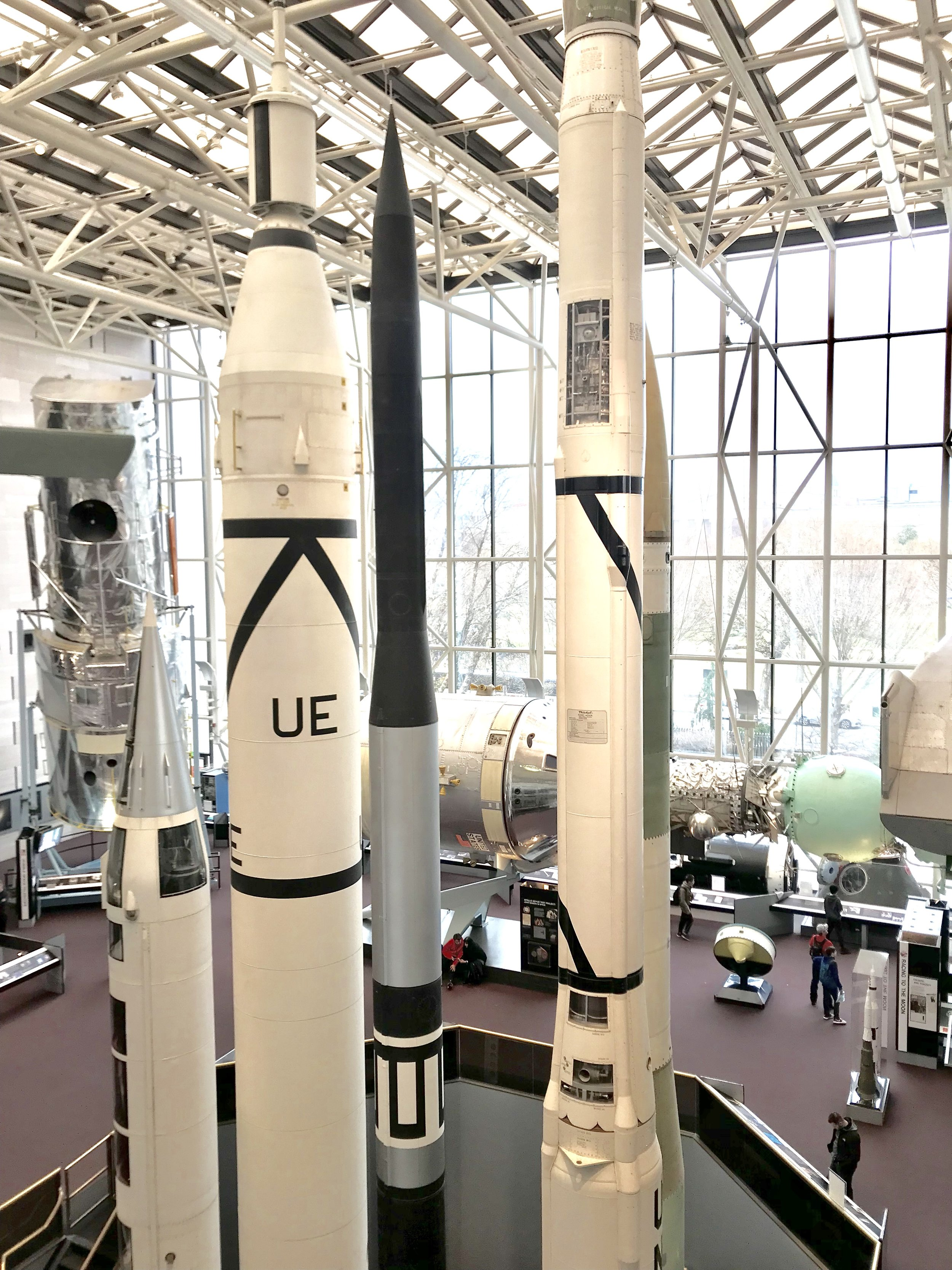 Different rockets on display at the National Air and Space Museum in Washington D.C.