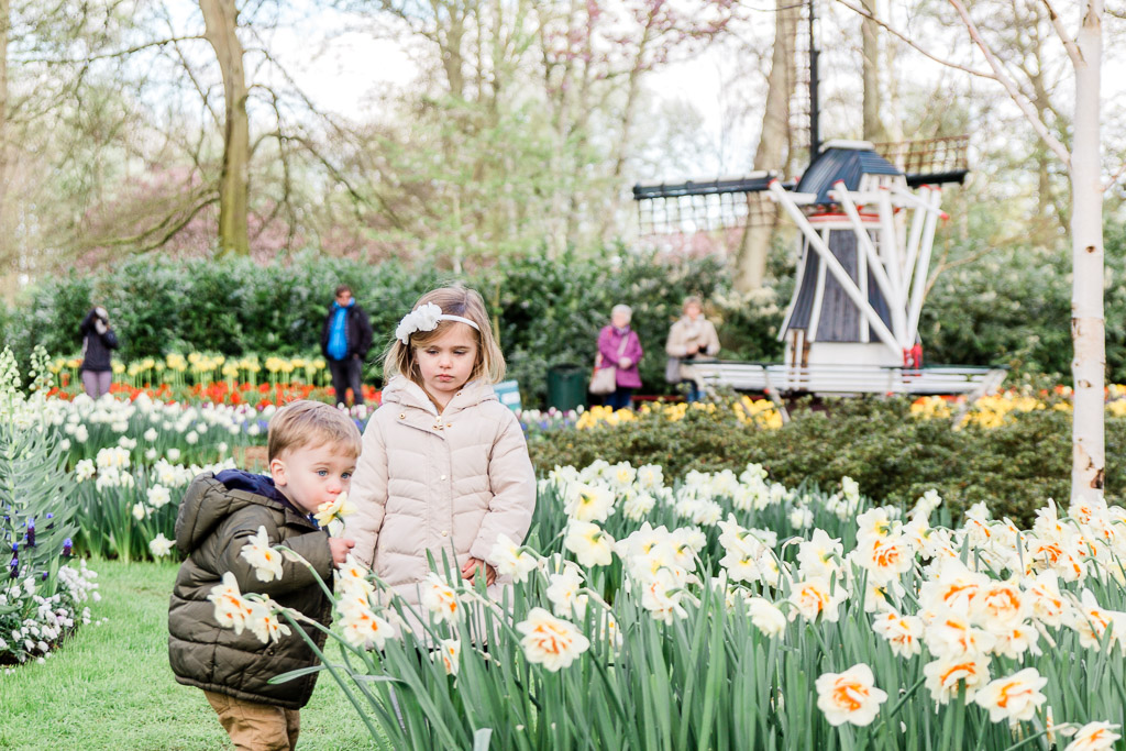 Little boy sniffing daffodils in flower garden with little girl next to him and a windmill in the background.