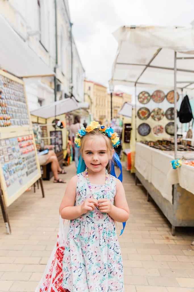 Shopping booths on Andriyvskyy Descent in Kiev, Ukraine.