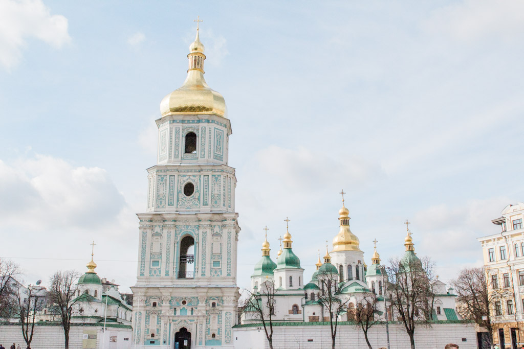 St. Sophia's Cathedral and decorated bell tower in Kiev.